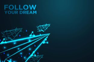 Flying Paper Plane, Follow Your Dream Background Graphic By ojosujono96