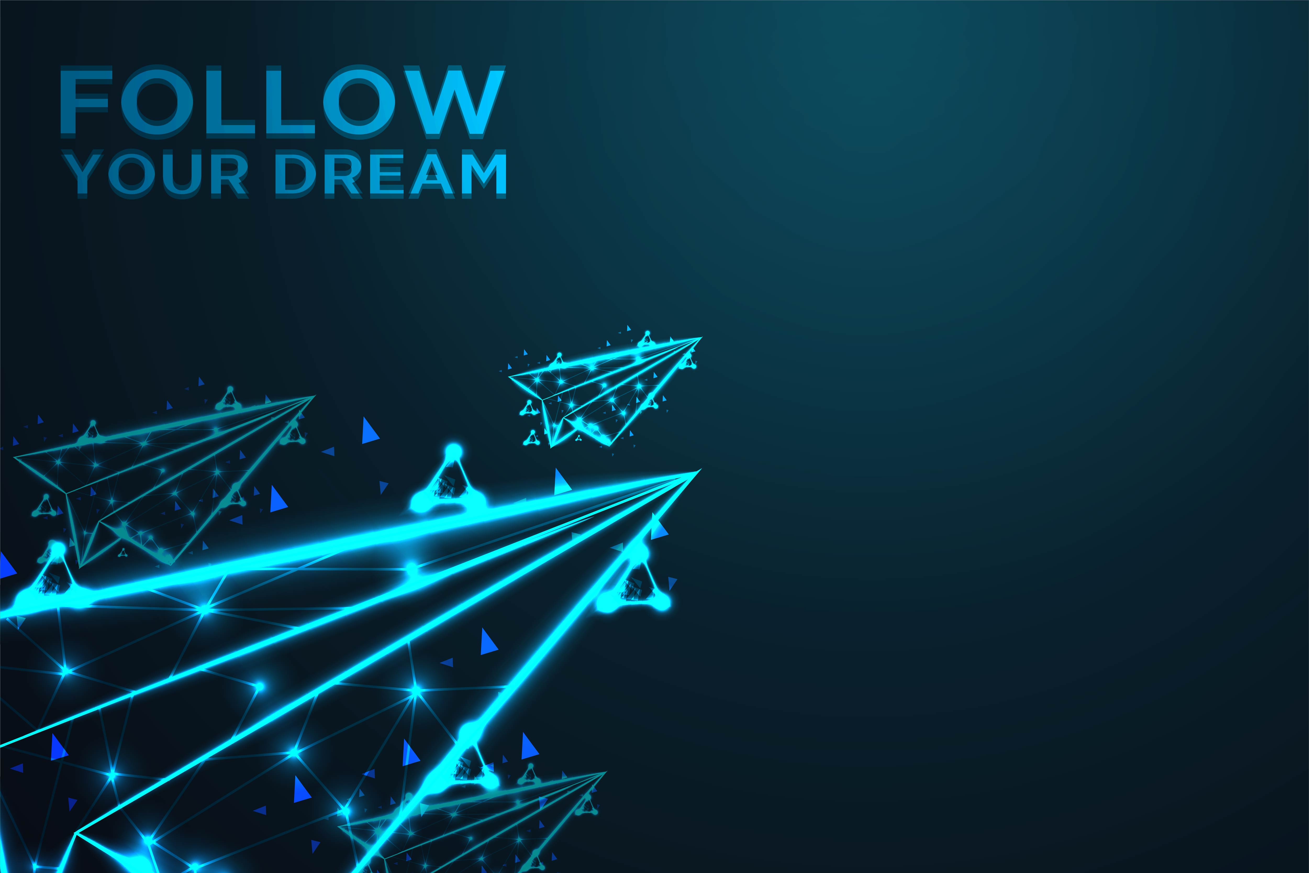 Download Free Flying Paper Plane Follow Your Dream Background Graphic By Ojosujono96 Creative Fabrica for Cricut Explore, Silhouette and other cutting machines.