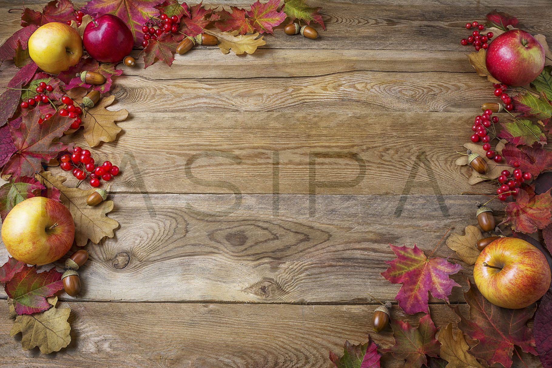 Download Free Frame Of Apples Acorns Berries And Fall Leaves On Dark Wooden for Cricut Explore, Silhouette and other cutting machines.