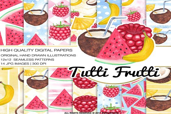 Fruits Digital Paper+Bonus Posters Graphic Patterns By BonaDesigns