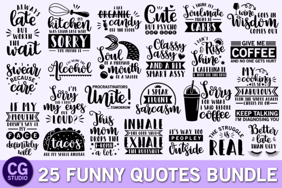 Funny Quotes Bundle Graphic Crafts By CrystalGiftsStudio