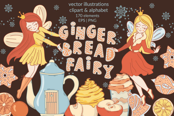 Print on Demand: Gingerbread Fairy Christmas Cartoon Set Graphic Illustrations By FARAWAYKINGDOM