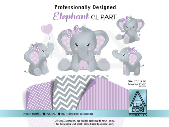 Print on Demand: Girl Elephant Purple Clip Art Graphic Illustrations By adlydigital