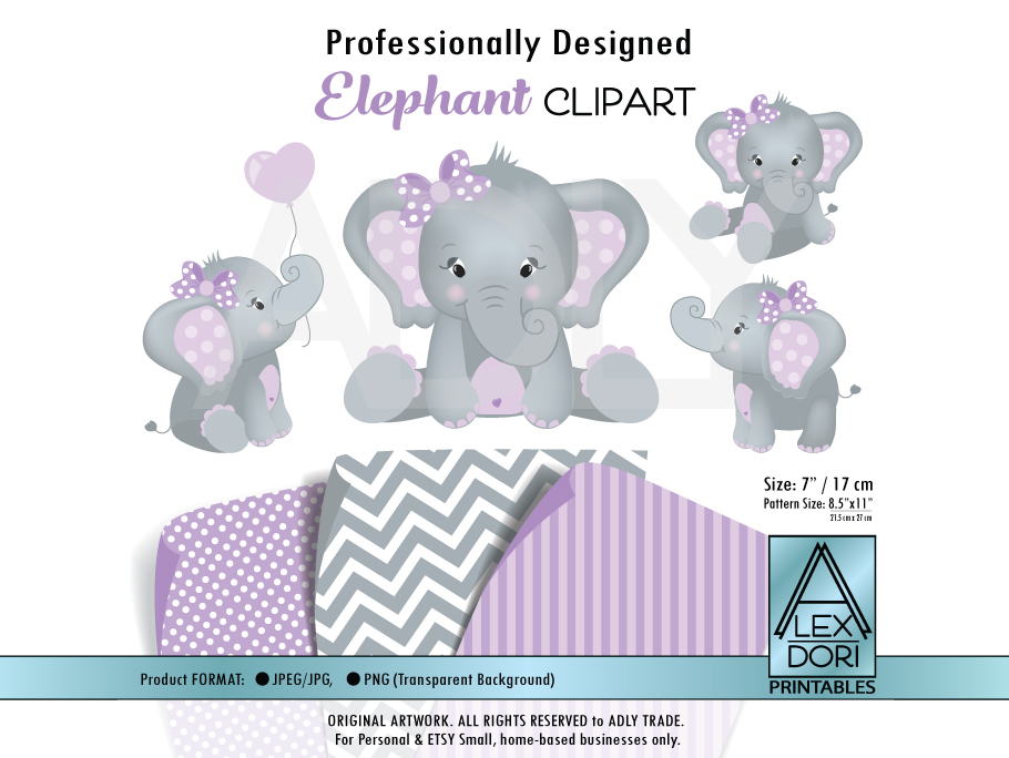 Download Free Girl Elephant Purple Clip Art Graphic By Adlydigital Creative for Cricut Explore, Silhouette and other cutting machines.