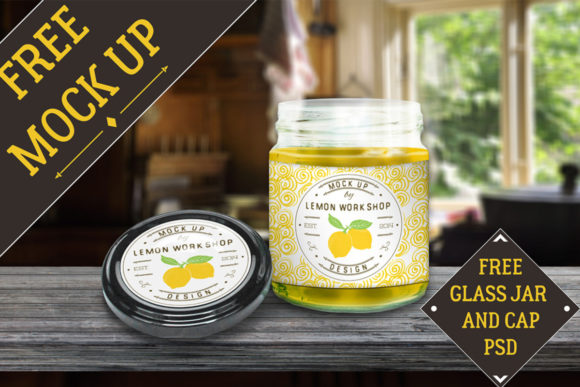Glas Jar and Cap Mockup Graphic Product Mockups By Creative Fabrica Freebies