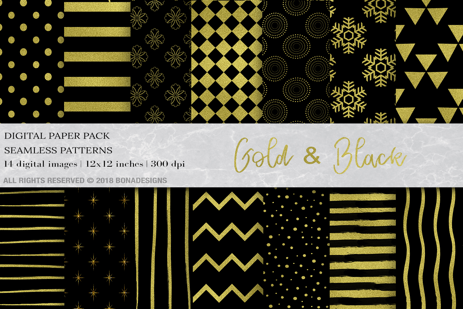 Download Free Gold Black Background Digital Paper Graphic By Bonadesigns for Cricut Explore, Silhouette and other cutting machines.