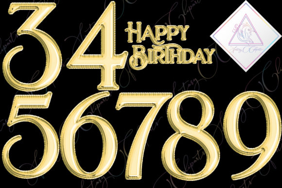 Print on Demand: Gold Foil Balloons Numbers Clipart Graphic Illustrations By fantasycliparts