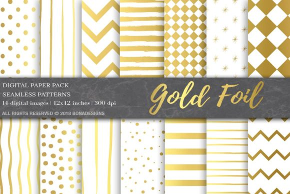 Gold Foil Digital Paper Pack Graphic Backgrounds By BonaDesigns