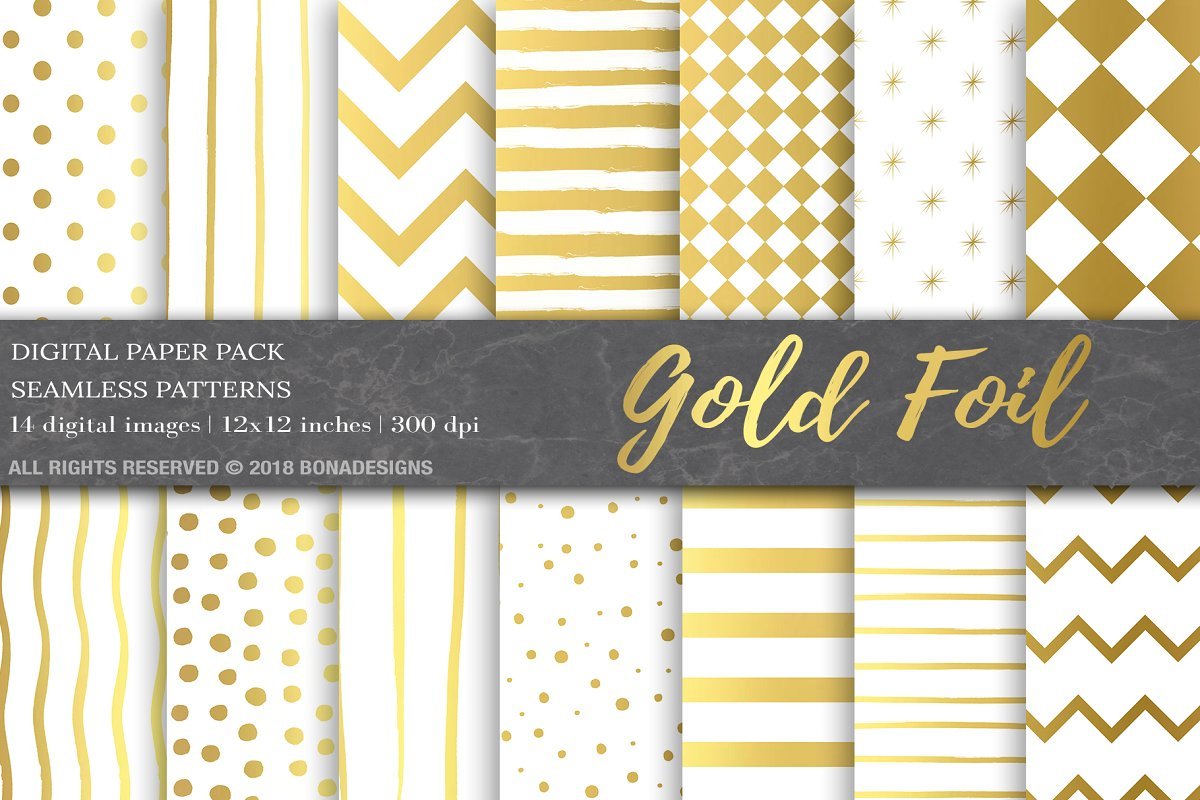 Download Free Gold Foil Digital Paper Pack Graphic By Bonadesigns Creative for Cricut Explore, Silhouette and other cutting machines.