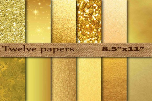 Gold Foil Digital Paper Graphic Backgrounds By twelvepapers