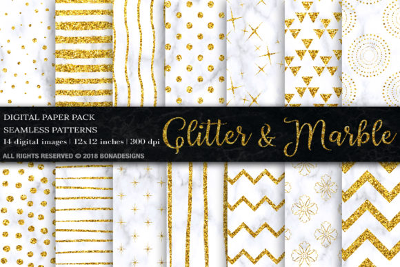 Download Free Gold Glitter Marble Digital Paper Graphic By Bonadesigns SVG Cut Files