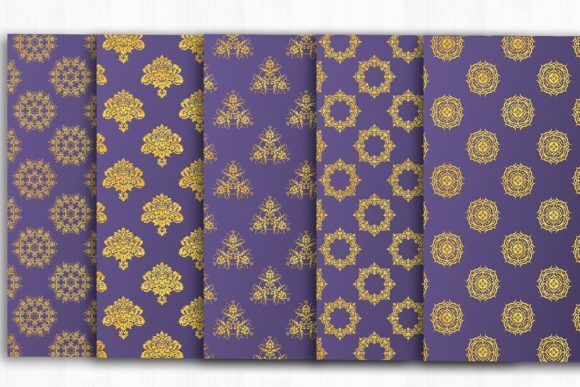 Download Free Gold Violet Damask Digital Paper Graphic By Bonadesigns for Cricut Explore, Silhouette and other cutting machines.