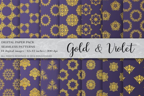 Gold Violet Damask Digital Paper Graphic Patterns By BonaDesigns