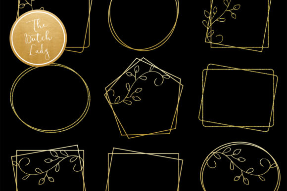 Print on Demand: Golden Border & Frame Clipart Set Graphic Crafts By daphnepopuliers