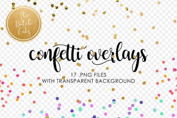 Print on Demand: Golden Confetti Clipart Overlays Graphic Crafts By daphnepopuliers