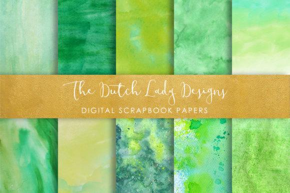 Print on Demand: Green Watercolor Texture Scrapbook Papers Graphic Textures By daphnepopuliers