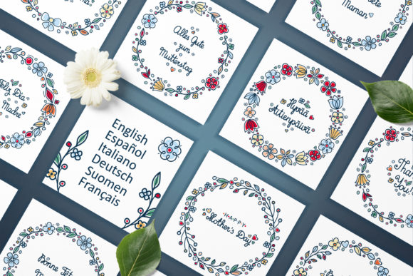 Download Free Greeting Cards For Mother S Day In Different Languages Graphic for Cricut Explore, Silhouette and other cutting machines.