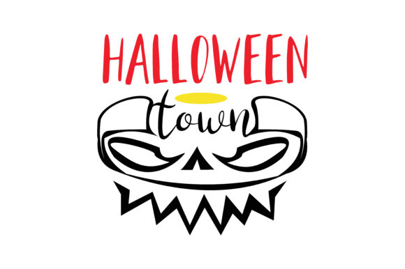 Download Free Halloween Town Graphic By Thelucky Creative Fabrica for Cricut Explore, Silhouette and other cutting machines.