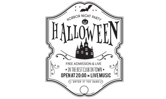 Download Free Halloween Party Invitation Card Graphic By Baraeiji Creative for Cricut Explore, Silhouette and other cutting machines.