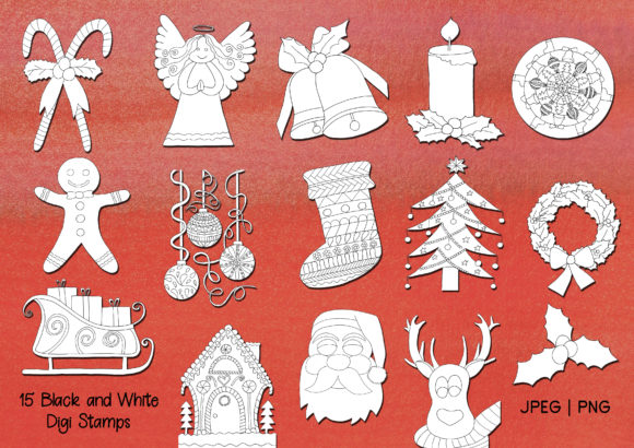 Hand-Drawn Christmas Digi Stamps and Clip Art Graphic By Janet's Art Corner Image 2