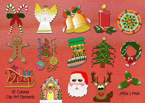 Hand-Drawn Christmas Digi Stamps and Clip Art Graphic By Janet's Art Corner Image 3