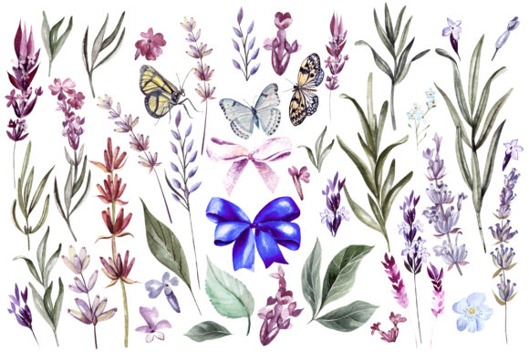 Hand Drawn Watercolor Lavender 2 Graphic Objects By Knopazyzy - Image 4