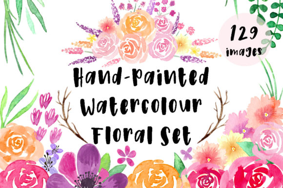 Hand Painted Watercolor Floral Set Graphic Illustrations By Jennifer Chow