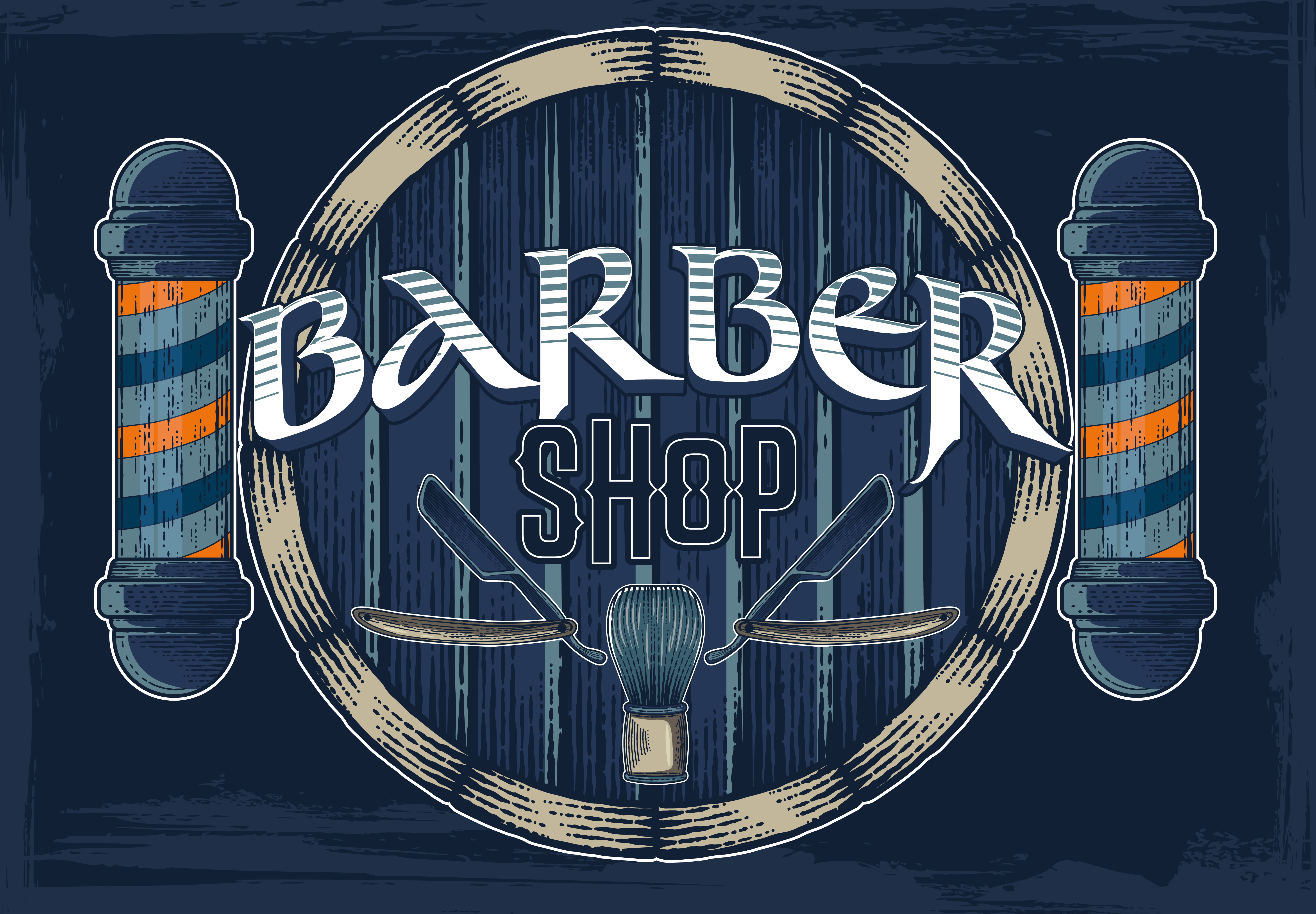 Hand drawn vector barber shop poster with signboard