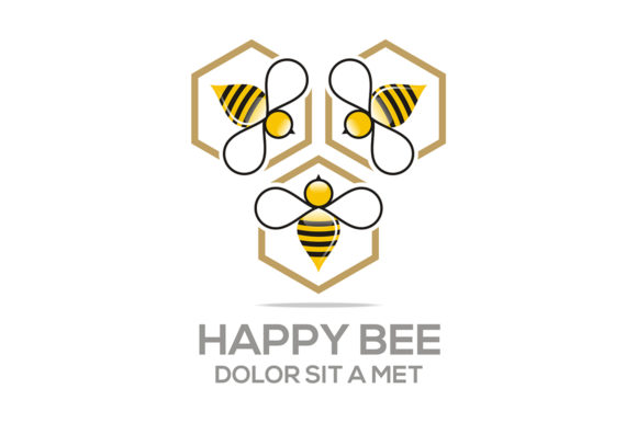 Happy Bee Logo Graphic Logos By Acongraphic