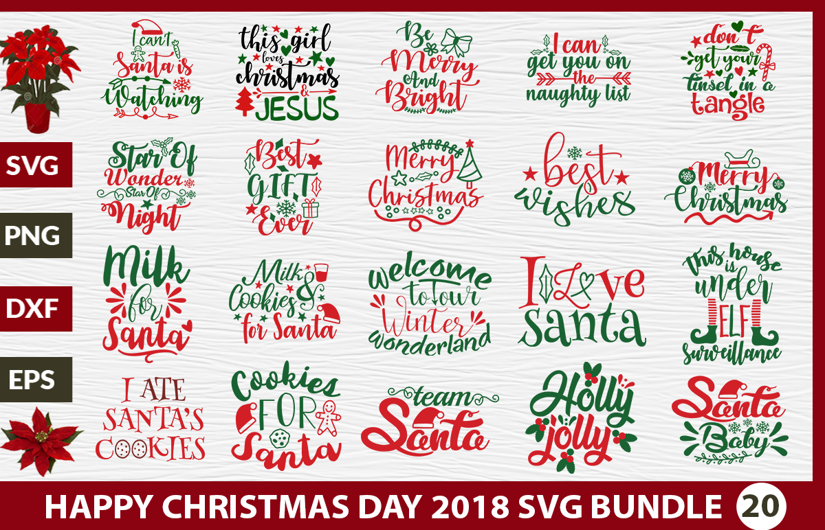 Download Free Happy Christmas Day Bundle Graphic By Design Palace Creative for Cricut Explore, Silhouette and other cutting machines.