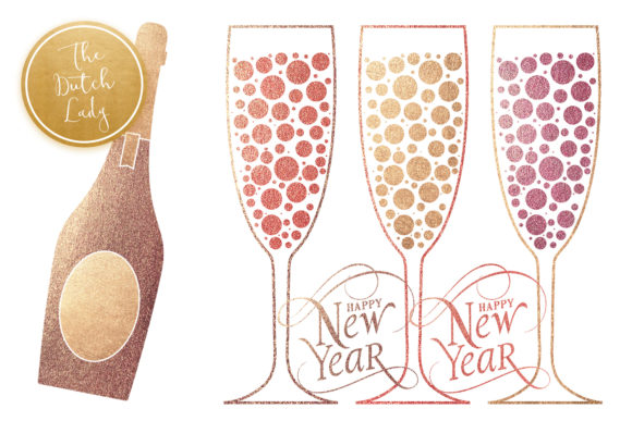 happy new year party clipart set graphic by daphnepopuliers creative fabrica