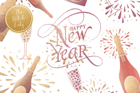 Happy New Year & Party Clipart Set Graphic By daphnepopuliers