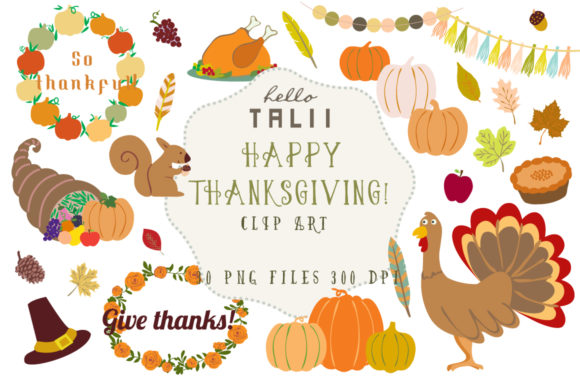 Happy Thanksgiving Clip Art Graphic Illustrations By Hello Talii