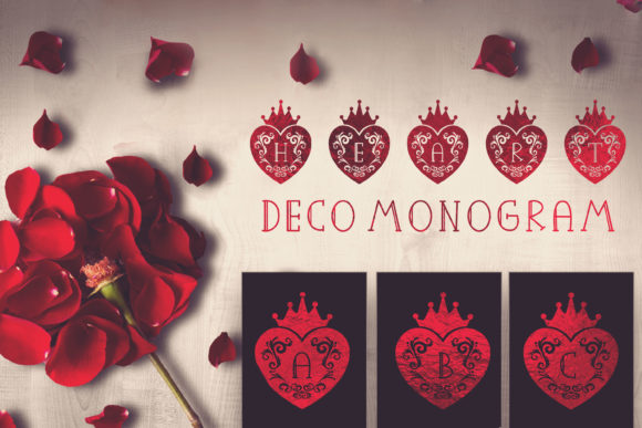 Print on Demand: Heart Deco Monogram Decorative Font By Cute files