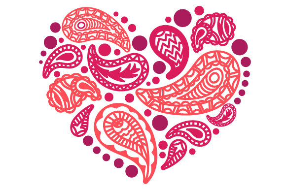 Heart Made of Paisley Patterns Paisley Craft Cut File By Creative Fabrica Crafts