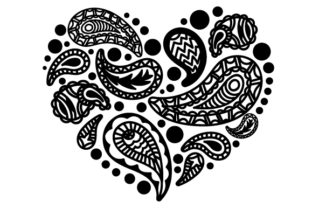 Heart Made of Paisley Patterns Paisley Craft Cut File By Creative Fabrica Crafts 2