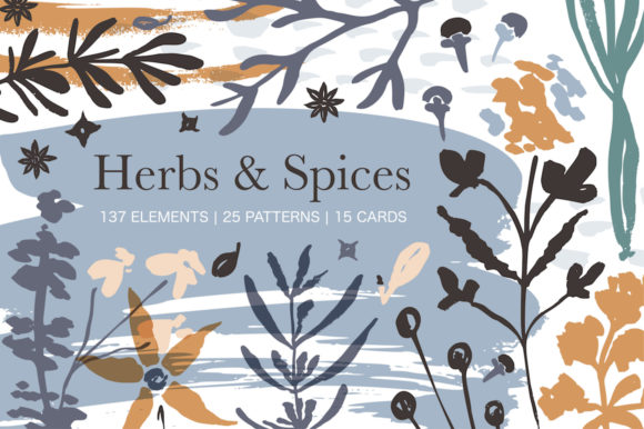 Print on Demand: Herbs & Spices. Big Graphic Set. Graphic Illustrations By Red Ink