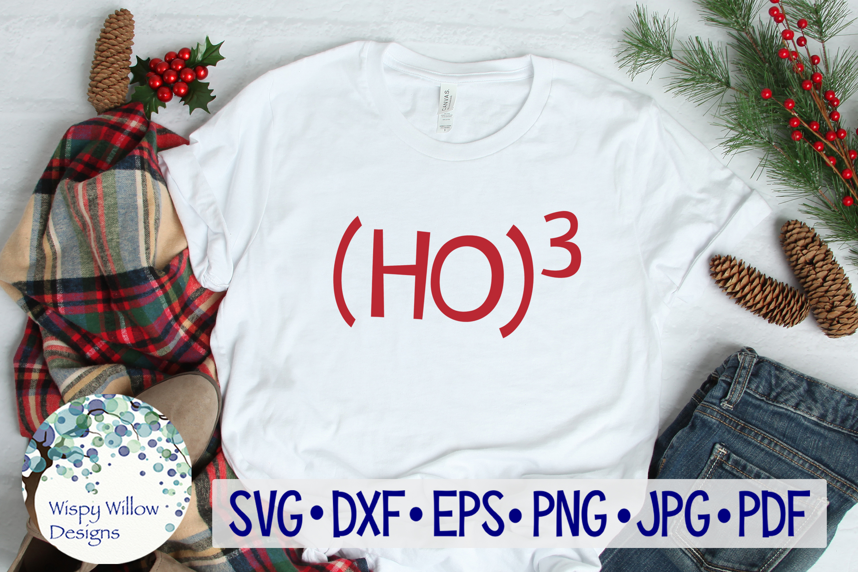 Download Free Ho 3 Ho Ho Ho Christmas Svg Graphic By Wispywillowdesigns for Cricut Explore, Silhouette and other cutting machines.
