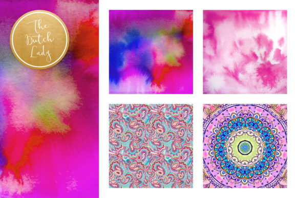 Print on Demand: Holistic & Psychedelic Watercolor Pattern Scrapbook Papers Graphic Patterns By daphnepopuliers - Image 3
