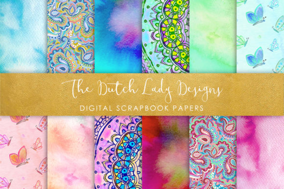 Holistic & Psychedelic Watercolor Pattern Scrapbook Papers Grafik von daphnepopuliers