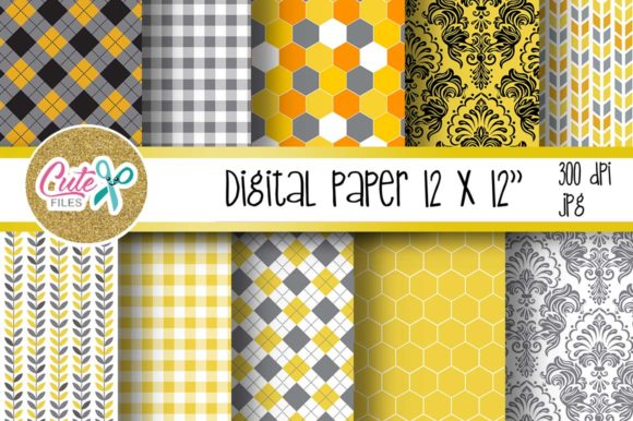 Honny Bee Digital Paper for Scrapbooking Graphic Textures By Cute files - Image 2