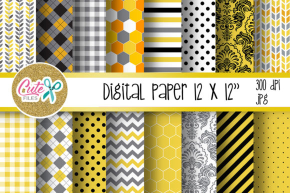 Honny Bee Digital Paper for Scrapbooking Graphic Textures By Cute files - Image 1