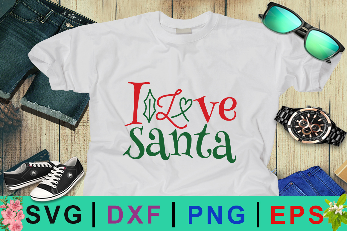 Download Free I Love Santa Christmas Svg Graphic By Design Palace Creative for Cricut Explore, Silhouette and other cutting machines.