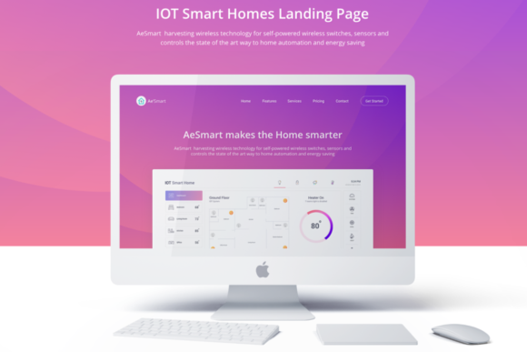 IOT Smart Home Landing Page UI Kit Graphic UX and UI Kits By Creative Fabrica Freebies