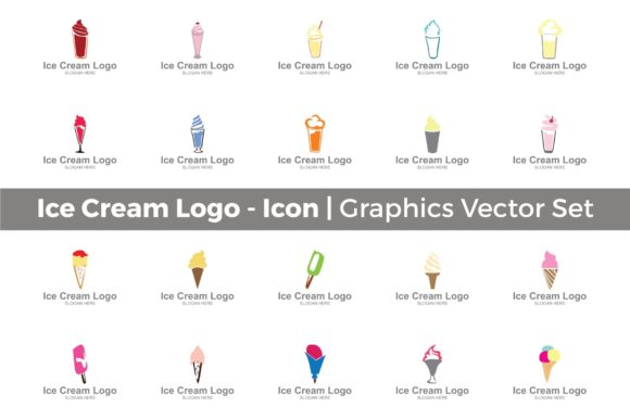 Download Free Ice Cream Milkshake Logo Set Graphic By Guardesign Creative for Cricut Explore, Silhouette and other cutting machines.