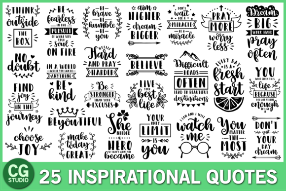 Inspirational Quotes Bundle Graphic Crafts By CrystalGiftsStudio