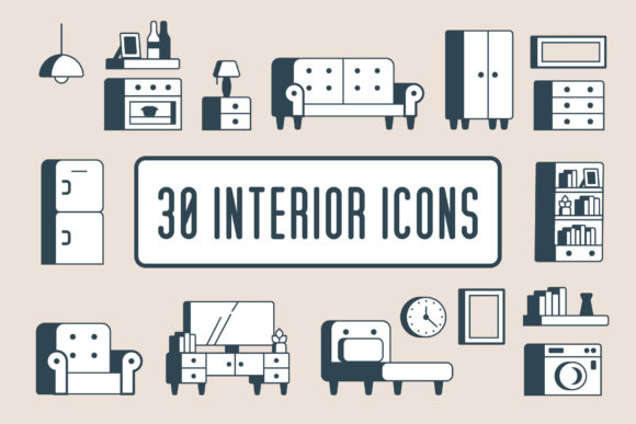 Interior Icons | 30 Graphic Icons By Mike Hill