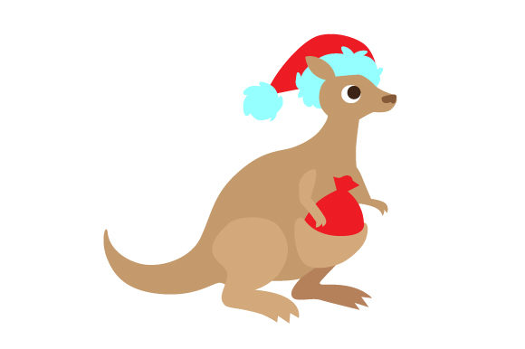 Download Free Kangaroo Wearing Santa S Hat And The Bag Full Of Presents Svg Cut for Cricut Explore, Silhouette and other cutting machines.