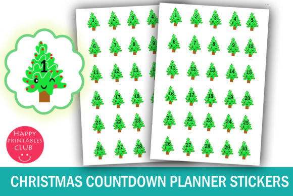Print on Demand: Kawaii Christmas Countdown Planner Stickers Graphic Crafts By Happy Printables Club