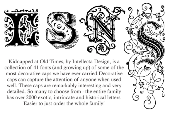 Download Free Kidnapped At Old Times Family Font By Intellecta Design for Cricut Explore, Silhouette and other cutting machines.